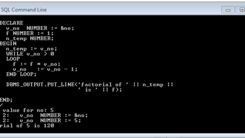 Program to print Factorial in PL/SQL using  While Loop