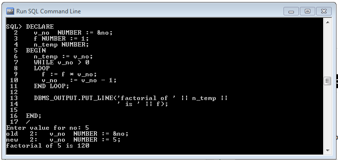 Program To Print Factorial In Pl Sql Using While Loop