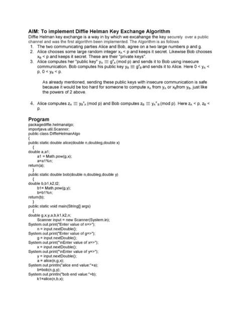 Implement Diffie Helman Key Exchange Algorithm